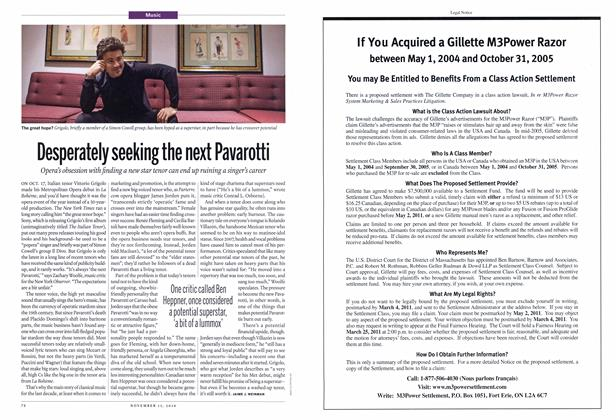 Article Preview: Desperately seeking the next Pavarotti, NOVEMBER 15th 2010 | Maclean's