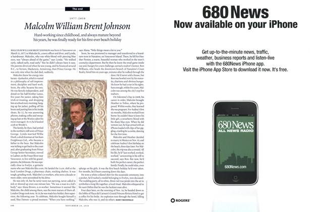 Article Preview: 1977-2010 Malcolm William Brent Johnson, November 29th 2010 | Maclean's