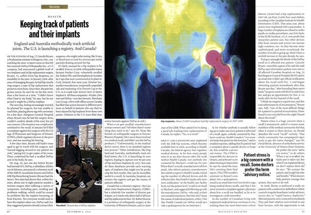 Article Preview: Keeping track of patients and their implants, December 6th 2010 | Maclean's
