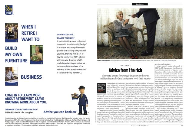 Article Preview: Advice from the rich, December 13th 2010 | Maclean's