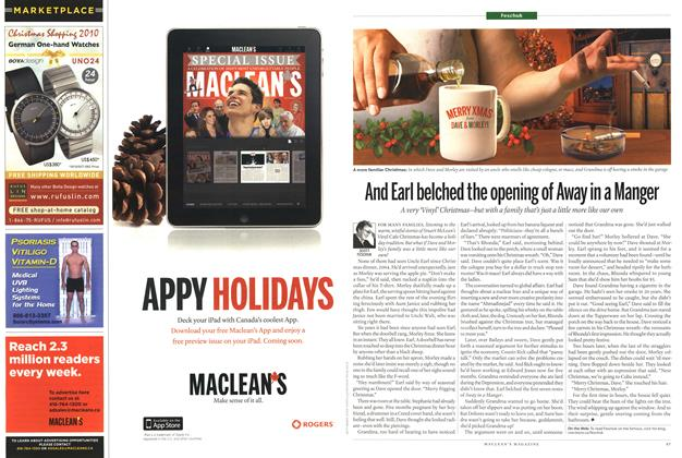 Article Preview: And Earl belched the opening of Away in a Manger, January 3rd 2011 | Maclean's