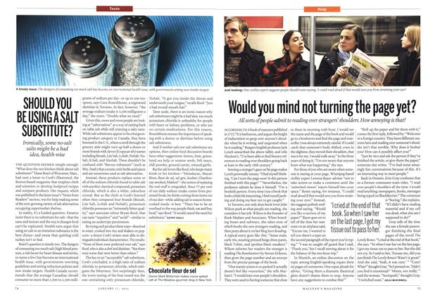 Article Preview: SHOULD YOU BE USING A SALT SUBSTITUTE?, January 2011 | Maclean's