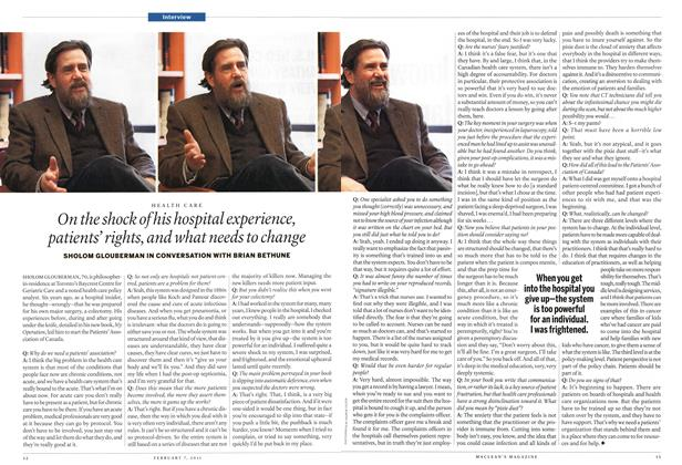 Article Preview: On the shock of his hospital experience, patients' rights, and what needs to change, February 2011 | Maclean's