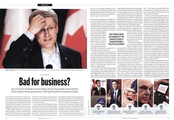 Article Preview: Bad for business?, February 2011 | Maclean's