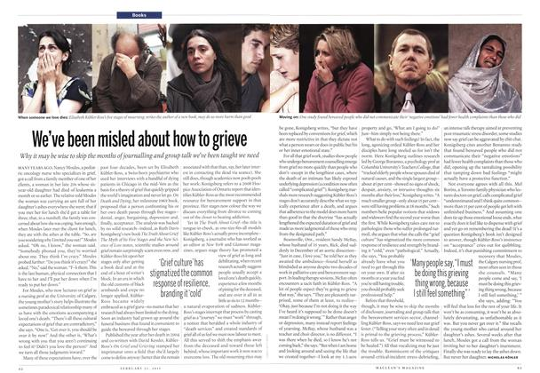 Article Preview: We've been misled about how to grieve, February 2011 | Maclean's