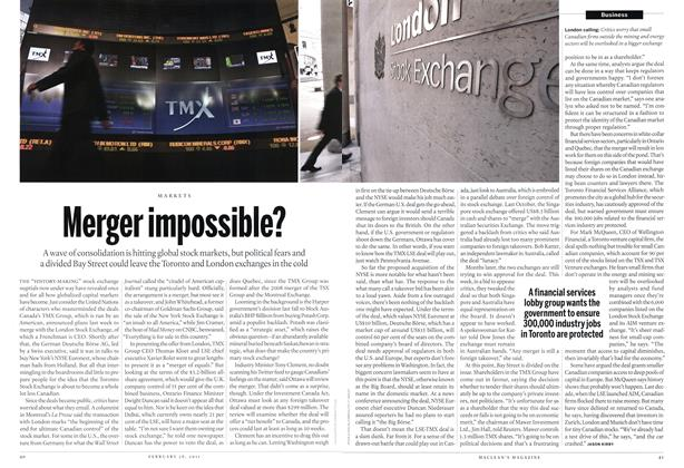 Article Preview: Merger impossible?, February 2011 | Maclean's