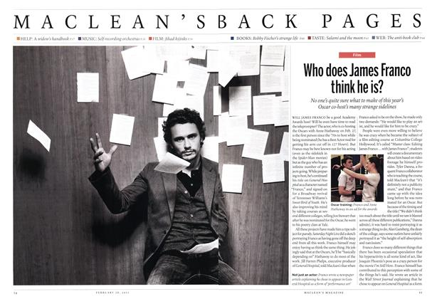 Article Preview: Who does James Franco think he is?, February 2011 | Maclean's