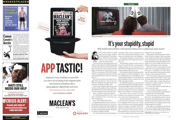 Article Preview: It's your stupidity, stupid, MARCH 7th 2011 | Maclean's