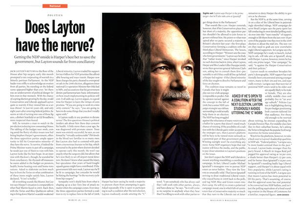 Article Preview: Does Layton have the nerve?, March 2011 | Maclean's
