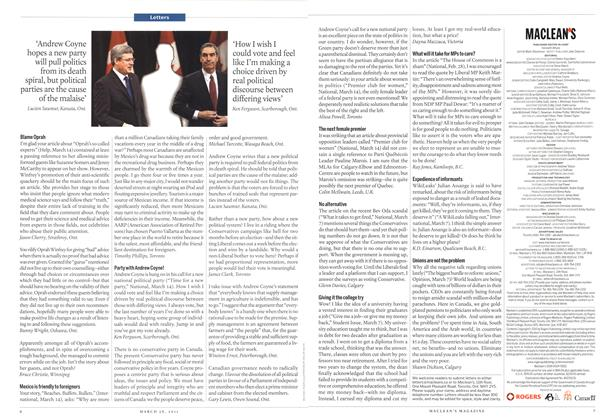 Article Preview: Letters, March 2011 | Maclean's