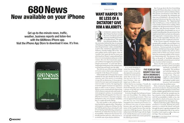 Article Preview: WANT HARPER TO BE LESS OF A DICTATOR? GIVE HIM A MAJORITY., April 2011   Maclean's