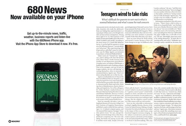Article Preview: Teenagers wired to take risks, April 2011 | Maclean's