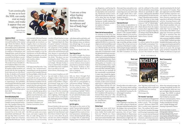 Article Preview: Letters, April 2011 | Maclean's