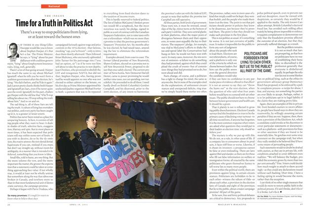 Article Preview: Time for a Truth in Politics Act, April 2011 | Maclean's