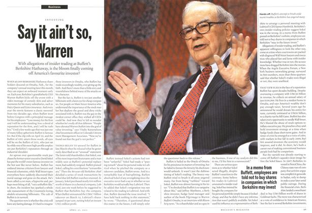 Article Preview: Say it ain't so, Warren, April 2011 | Maclean's
