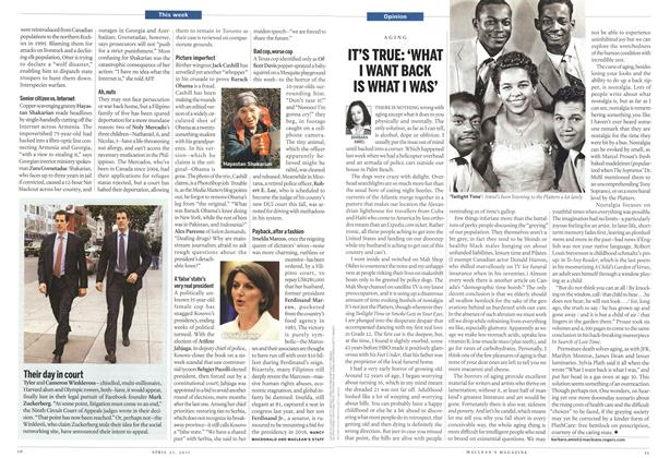 Article Preview: IT'S TRUE: 'WHAT I WANT BACK IS WHAT I WAS', April 2011 | Maclean's