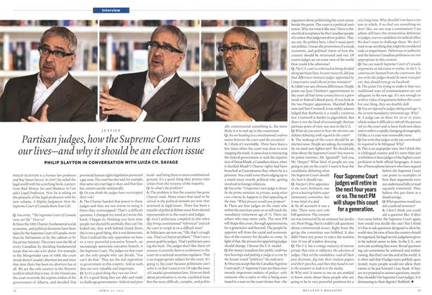 Article Preview: Partisan judges, how the Supreme Court runs our lives—and why it should be an election issue, April 2011 | Maclean's