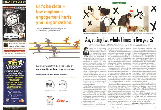 Article Preview: Aw, voting two whole times in five years?, May 2011 | Maclean's