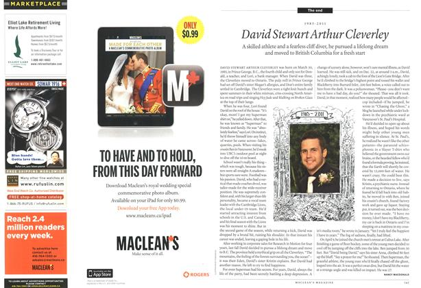Article Preview: 1985 - 2011 David Stewart Arthur Cleverley, May 2011 | Maclean's