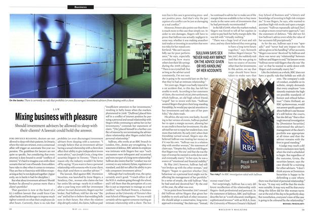 Article Preview: Mixing business with pleasure, May 2011 | Maclean's