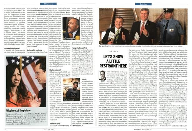 Article Preview: LET'S SHOW A LITTLE RESTRAINT HERE, June 2011   Maclean's