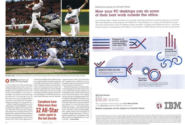 Article Preview: BASEBALL WE'RE NOT JUST RIDING THE PINE ANYMORE, July 2011 | Maclean's