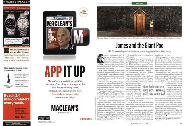 Article Preview: James and the Giant Poo, August 22nd 2011 | Maclean's