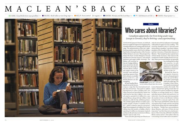Article Preview: Who cares about libraries?, August 29th 2011 | Maclean's