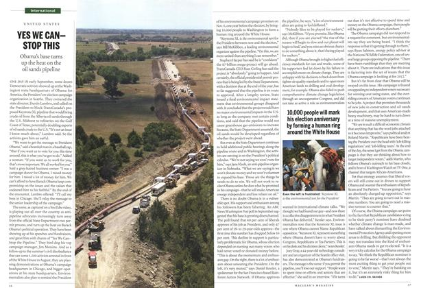 Article Preview: YES WE CANSTOP THIS Obama's base turns up the heat on the oil sands pipeline, October 2011 | Maclean's