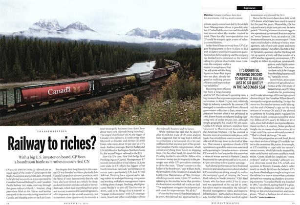 Article Preview: Railway to riches?, November 21st 2011 | Maclean's