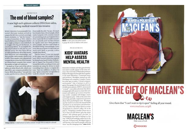 Article Preview: The end of blood samples?, November 21st 2011 | Maclean's