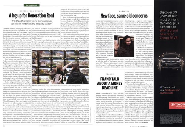 Article Preview: New face, same old concerns, December 2011 | Maclean's