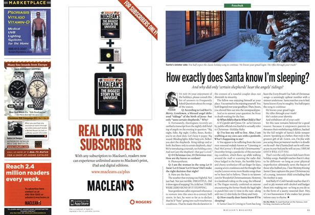 Article Preview: How exactly does Santa know I'm sleeping?, January 2012 | Maclean's