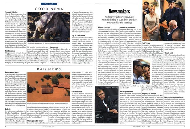 Article Preview: Newsmakers, January 2012 | Maclean's