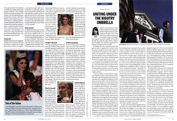 Article Preview: UNITING UNDER THE BIGOTRY UMBRELLA, January 2012 | Maclean's