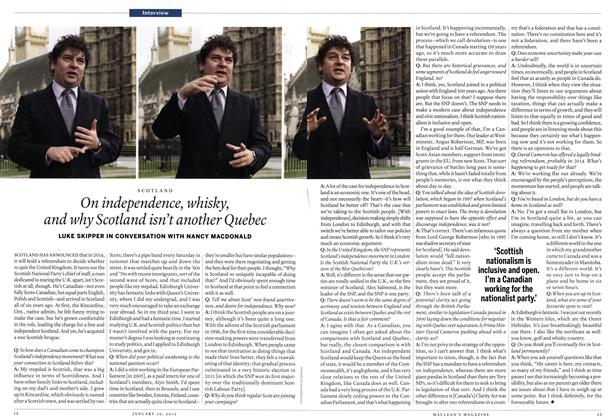 Article Preview: On independence, whisky, and why Scotland isn't another Quebec, January 2012 | Maclean's
