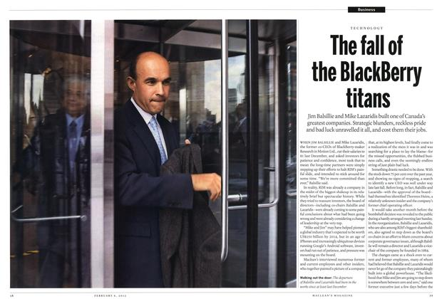 Article Preview: The fall of the BlackBerry titans, February 2012 | Maclean's