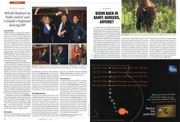 Article Preview: BISON BACK IN BANFF. BURGERS, ANYONE?, February 2012   Maclean's