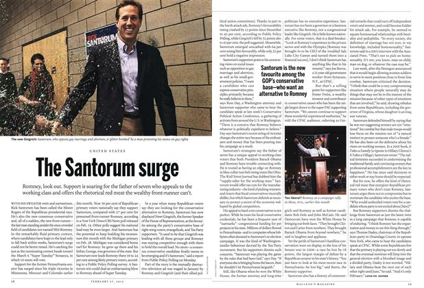 Article Preview: The Santorum surge, February 2012 | Maclean's