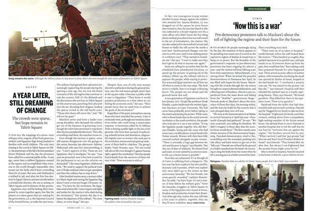 Article Preview: A YEAR LATER, STILL DREAMING OF CHANGE, February 2012 | Maclean's