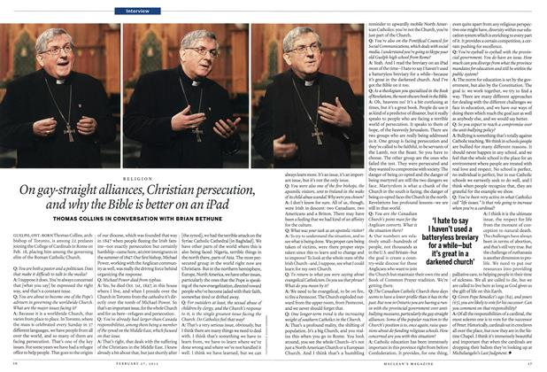 Article Preview: On gay-straight alliances, Christian persecution, and why the Bible is better on an iPad, February 2012 | Maclean's