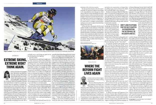Article Preview: EXTREME SKIING, EXTREME RISK? THINK AGAIN., March 2012 | Maclean's