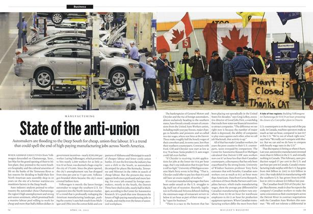 Article Preview: State of the anti-union, April 2012 | Maclean's