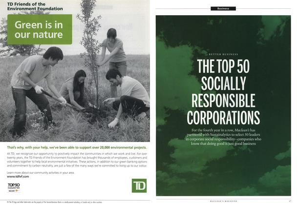 Article Preview: THE TOP 50 SOCIALLY RESPONSIBLE CORPORATIONS, June 2012 | Maclean's