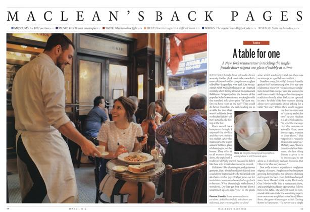 Article Preview: A table for one, June 2012 | Maclean's