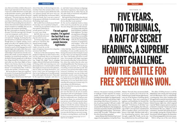 Article Preview: FIVE YEARS, TWO TRIBUNALS, A RAFT OF SECRET HEARINGS, A SUPREME COURT CHALLENGE. HOW THE BATTLE FOR FREE SPEECH WAS WON., June 2012 | Maclean's