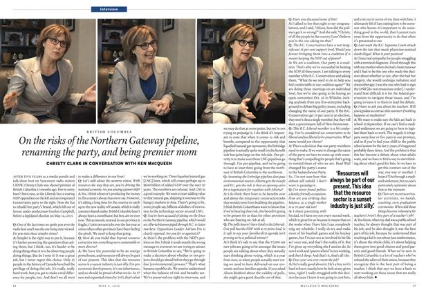 Article Preview: On the risks of the Northern Gateway pipeline, renaming the party, and being premier mom, July 2012 | Maclean's
