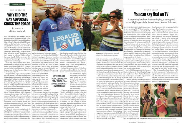 Article Preview: WHY DID THE GAY ADVOCATE CROSS THE ROAD?, August 2012 | Maclean's