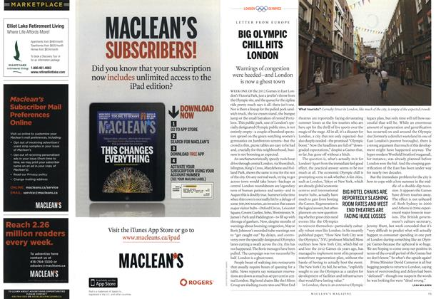Article Preview: BIG OLYMPIC CHILL HITS LONDON, August 2012 | Maclean's