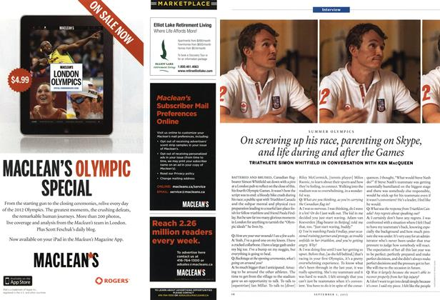 Article Preview: On screwing up his race, parenting on Skype, and life during and after the Games, SEPT. 3, 2012 2012 | Maclean's
